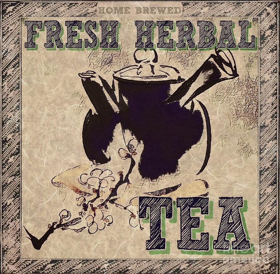 Herbal Tea Mixed Media - Fresh Herbal Tea by Lita Kelley