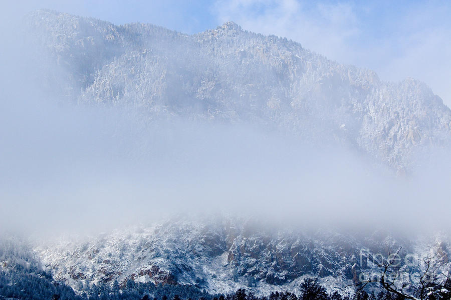 Fresh Snow And Fog On Cheyenne Mountain Photograph
