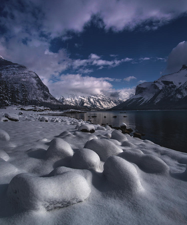 Fresh Snow at Lake Minnewanka  by Cale Best