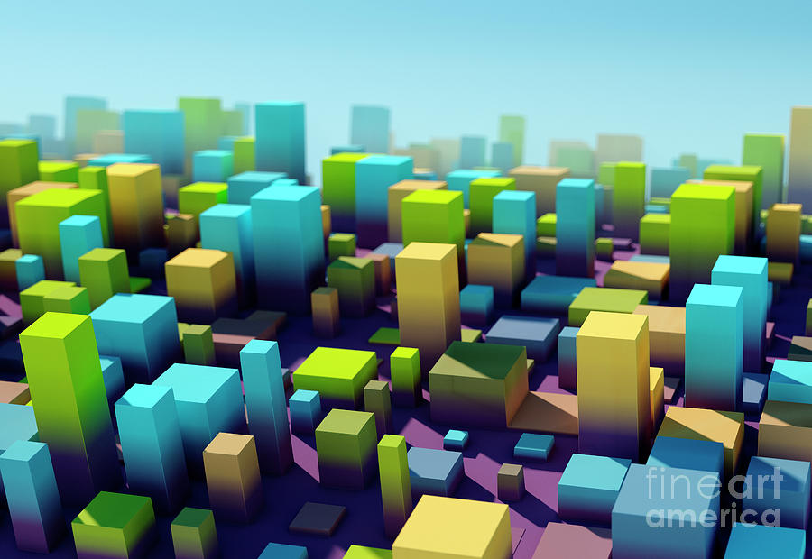 Design Digital Art - Fresh Square Variation Pattern Abstract 3D Cityscape DOF by Frank Ramspott