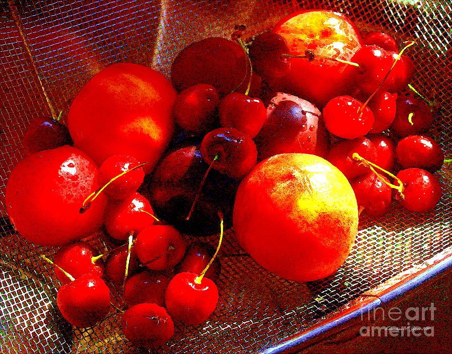 Peaches Photograph - Fresh Stone Fruit Still Life - A Summer Paintograph by Christine S Zipps