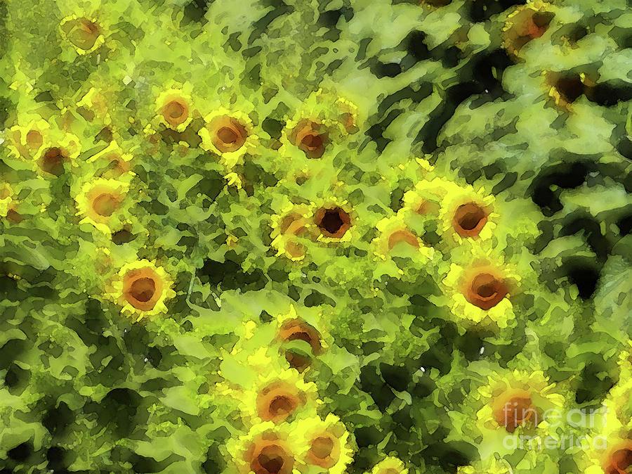 Fresh Sunflowers Painting - Fresh Sunflowers by Methune Hively