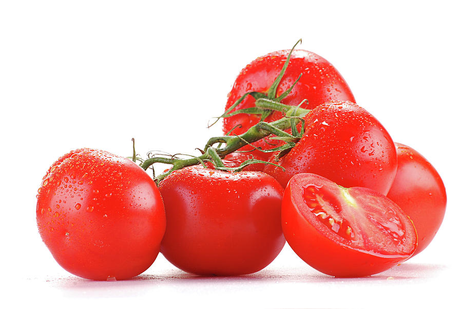 Fresh Tomatoes With Visible Drops Of Water Photograph by T ...