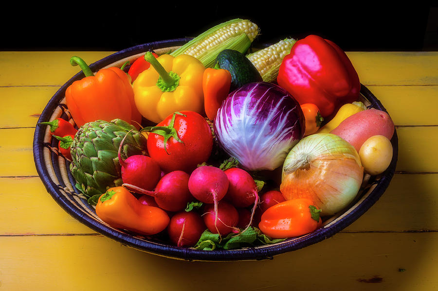 Vegetable Photograph - Fresh Vegetables In Lovely Basket by Garry Gay