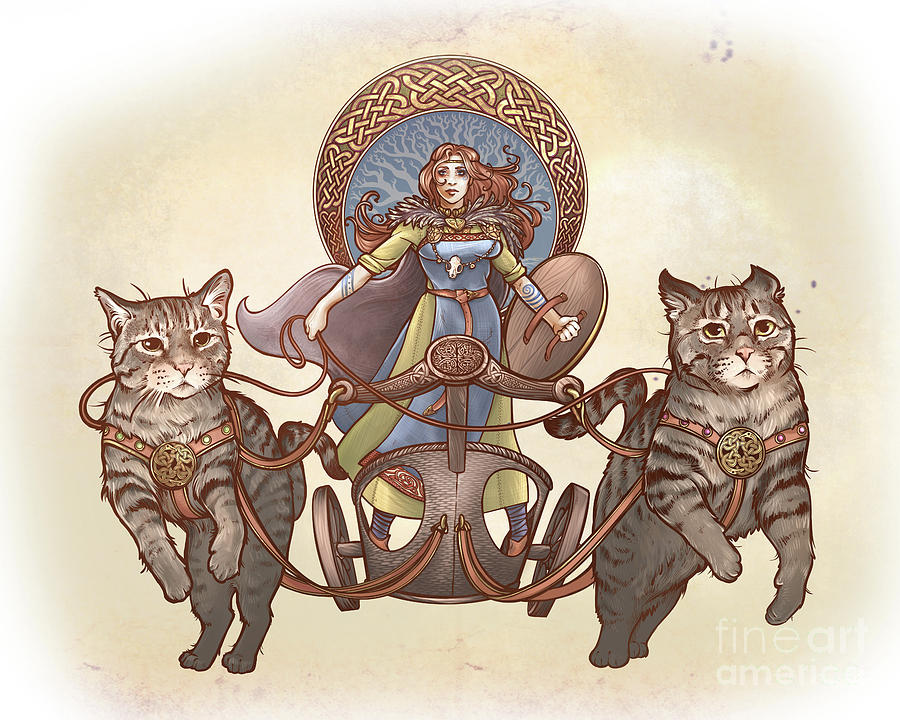 Freya Digital Art - Freya And Her Cat Chariot-garbed Version by Dani Kaulakis