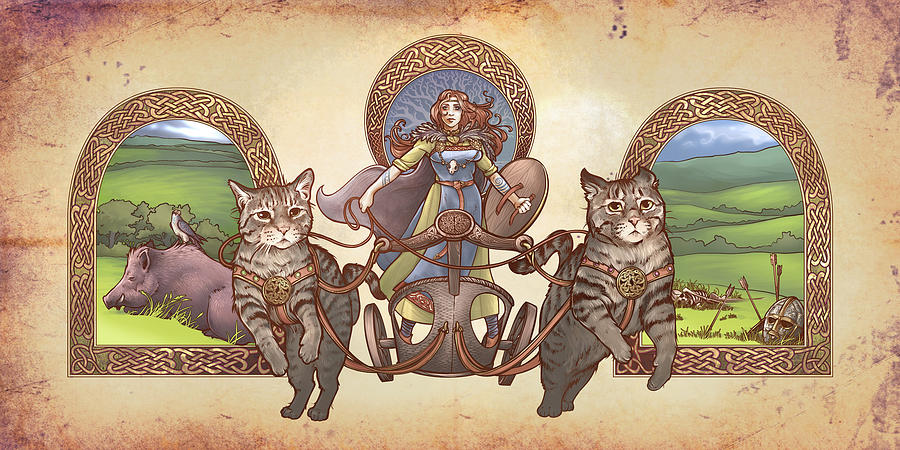 Freya Digital Art - Freya Driving Her Cat Chariot - Triptic Garbed Version by Dani Kaulakis