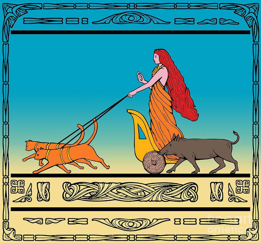 Freya Digital Art - Freya Norse Goddess by Aloysius Patrimonio