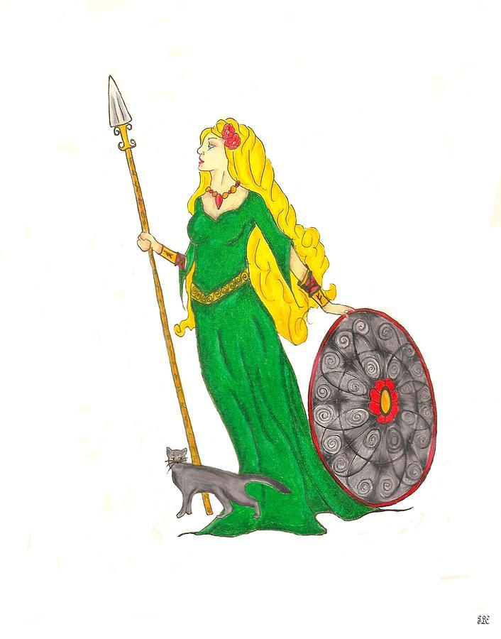 freyja norse goddess of beauty and war painting by tara