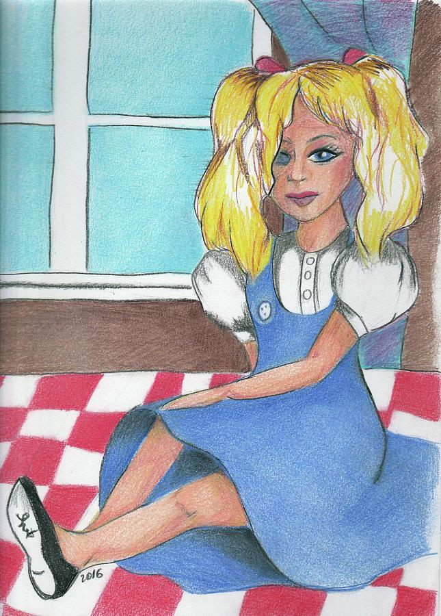 Dolly Drawing - Freys Dolly by Loretta Nash