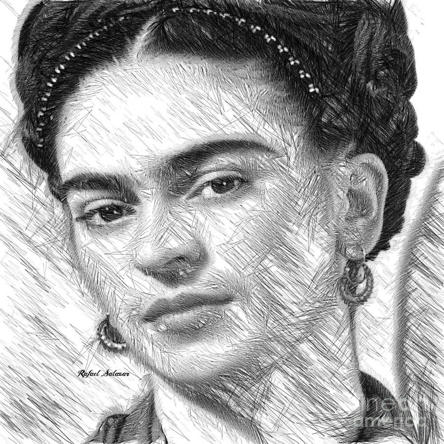 Frida Drawing in Black and White by Rafael Salazar