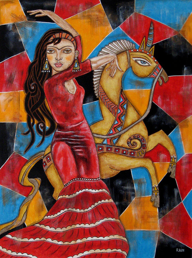 Frida Kahlo Paintings Painting - Frida Kahlo Dancing With The Unicorn by Rain Ririn