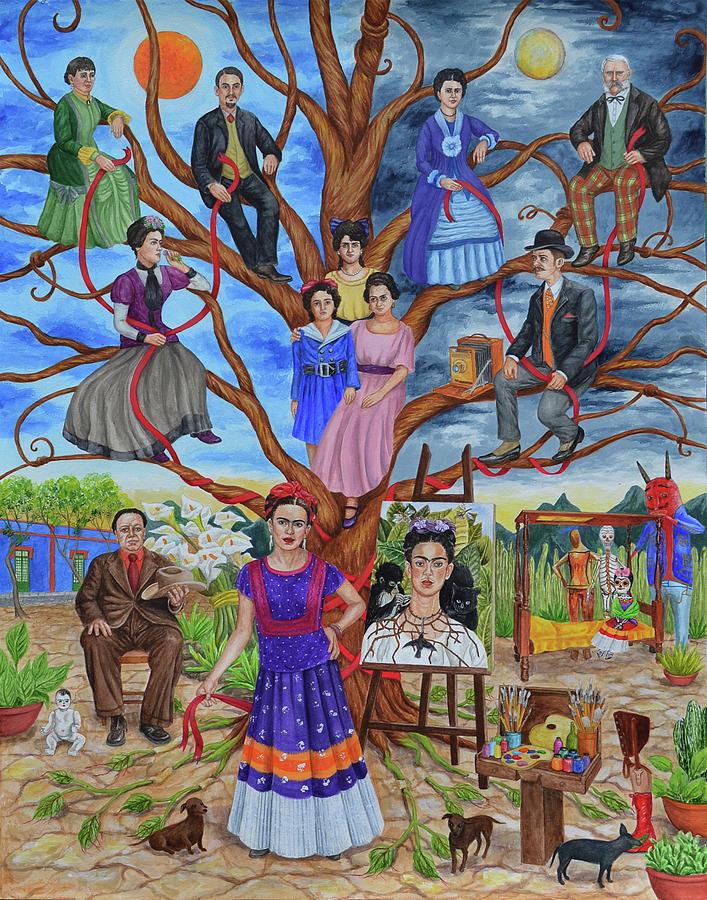 frida kahlo family tree painting by natasha sazonova