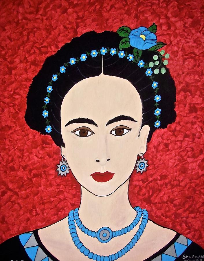 Frida Painting - Frida With Blue Flowers by Stephanie Moore