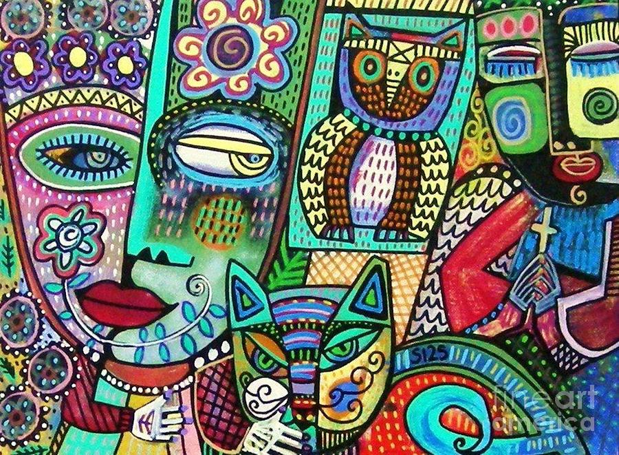 -Frida's Garden Owl And Cat by Sandra Silberzweig