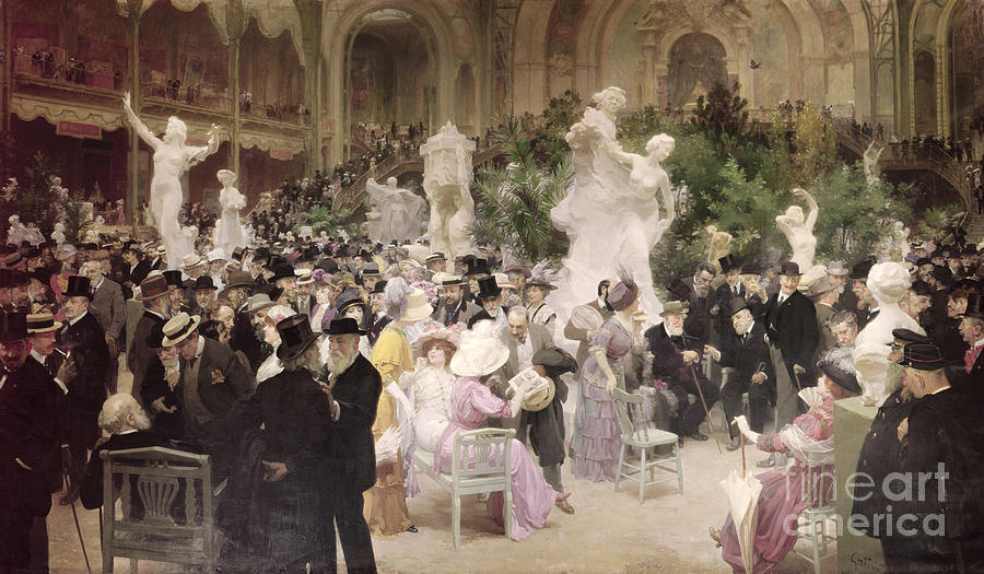 Friday At The French Artists' Salon Painting - Friday At The Salon by Jules Alexandre Grun
