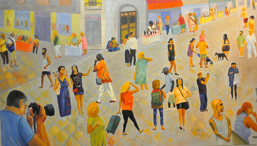 People Painting - Friday In Tel Aviv by Asher Topel