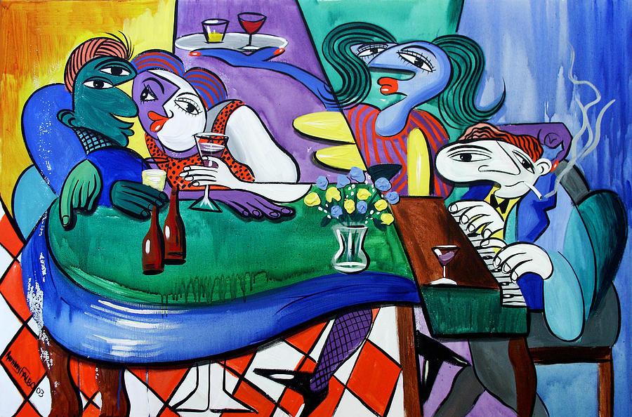 Bar Painting - Fridays At Bernies by Anthony Falbo