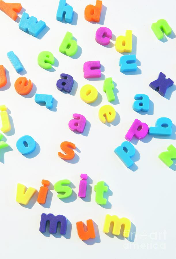 mum photograph fridge magnet letters spell visit mum by richard wareham