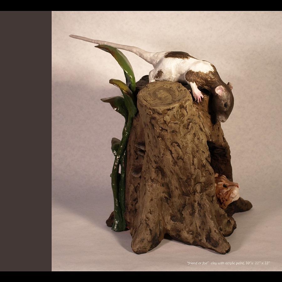 Cat Sculpture - Friend Or Foe View 1 by Katherine Huck Fernie Howard