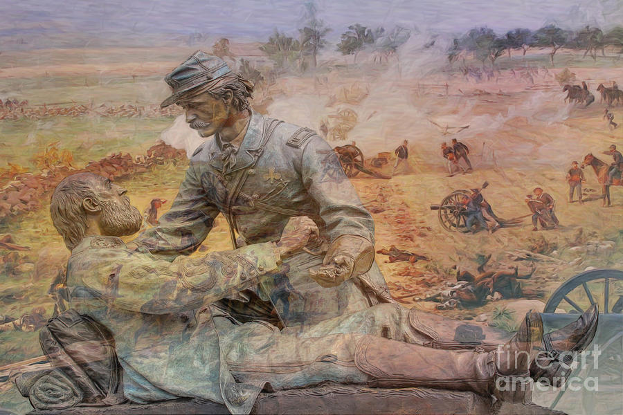 Friend To Friend Digital Art - Friend To Friend Monument Gettysburg Battlefield by Randy Steele
