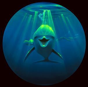 Dolphin Painting - Friendly Curiosity by Thomas Deir
