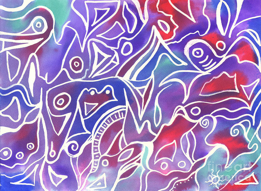 Maze Painting - Friendly Maze by Carolyn Weir