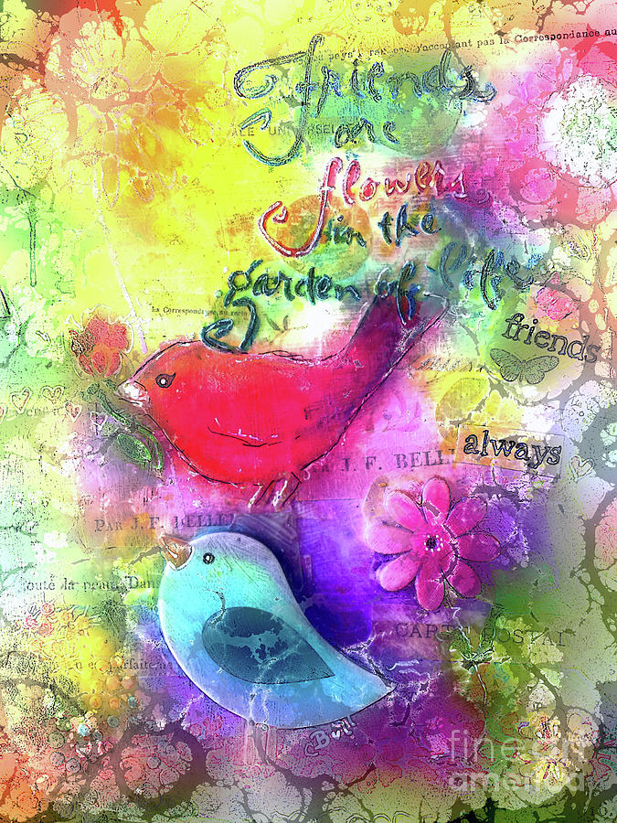 Birds Digital Art - Friends Always by Claire Bull