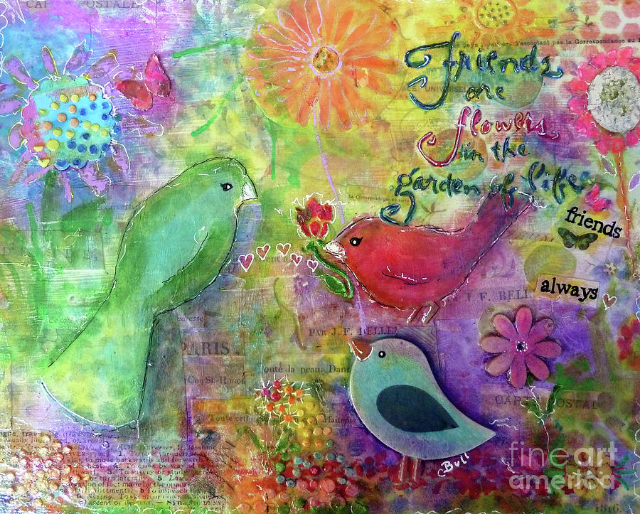 Bird Painting - Friends Always Together by Claire Bull