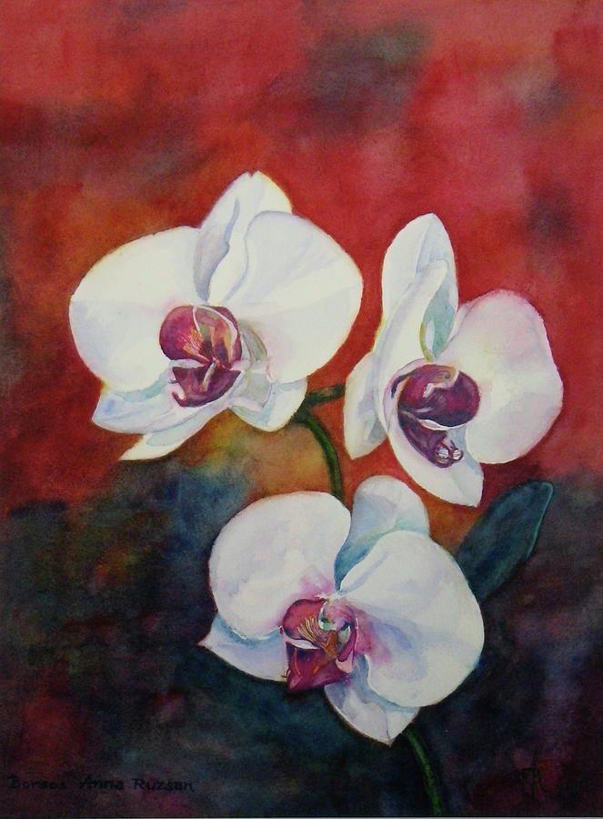 White Orchid Painting - Friends by Anna Ruzsan