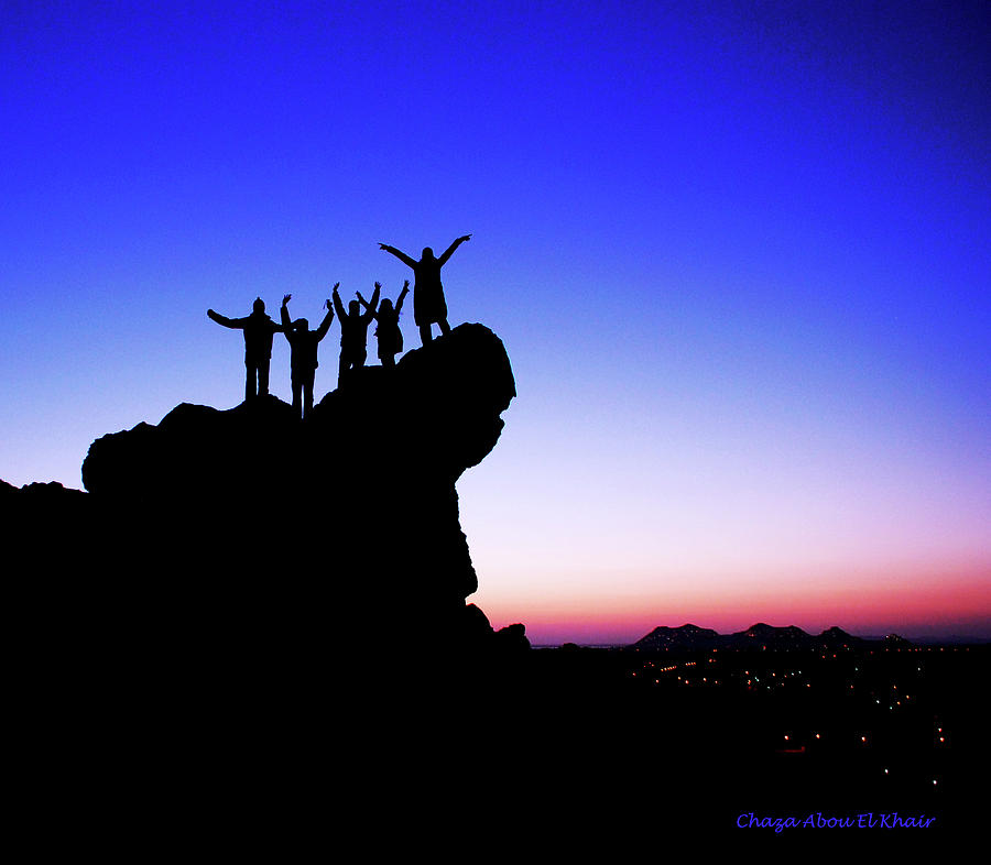Silouette Photograph - Friends by Chaza Abou El Khair
