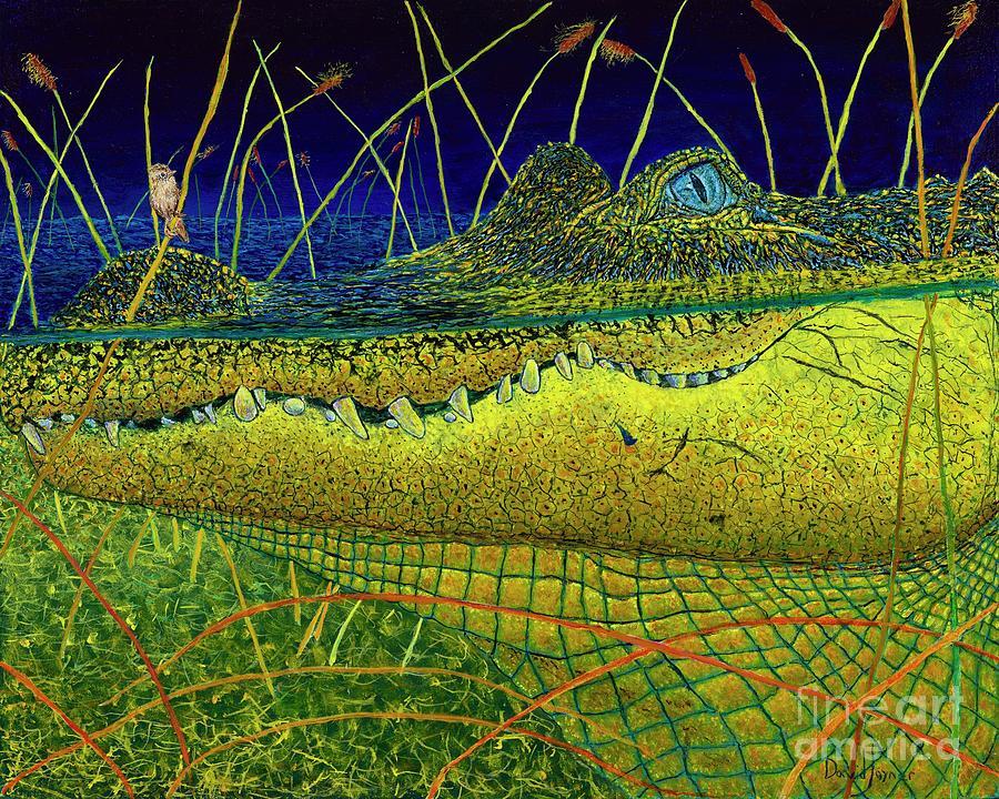 Alligator Painting - Swamp Gathering by David Joyner
