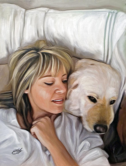 Pet Dog Portrait Painting - Friends Forever by William Everly