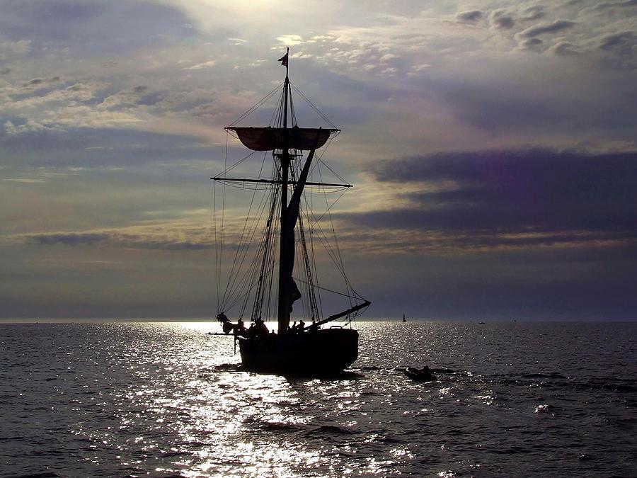 Friends Good Will Photograph - Friends Good Will Tall Ship Silhouette by Richard Gregurich