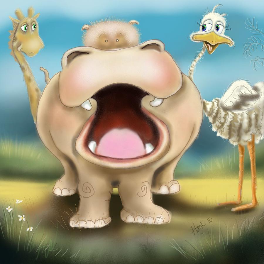 Hippo Illustration Painting - Friends by Hank Nunes