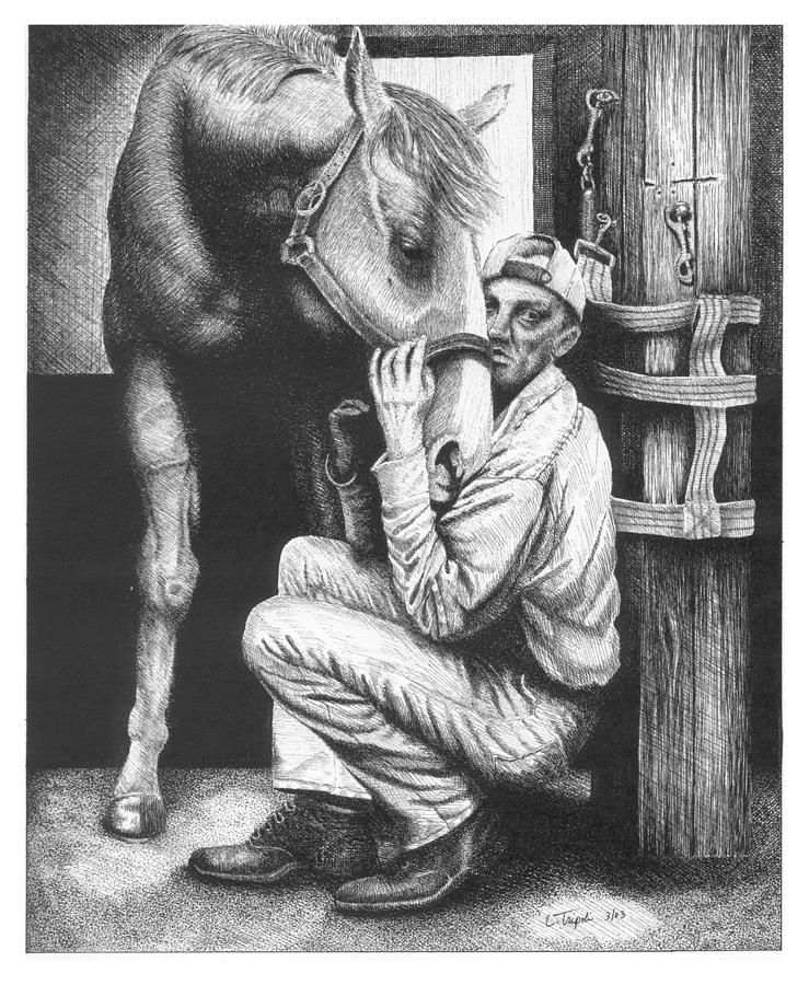 Horse Drawing - Friends by Lawrence Tripoli