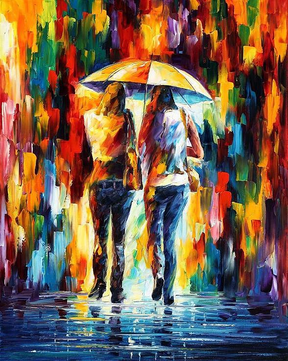 Afremov Painting - Friends Under The Rain by Leonid Afremov