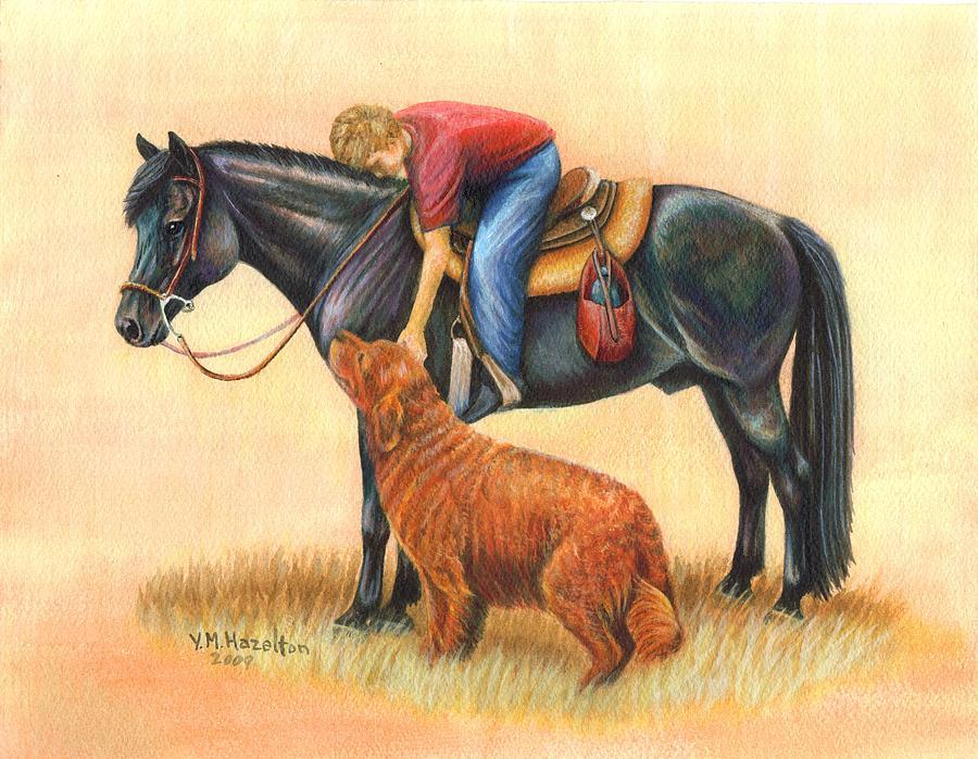 Horse Painting - Friends by Yvonne Hazelton