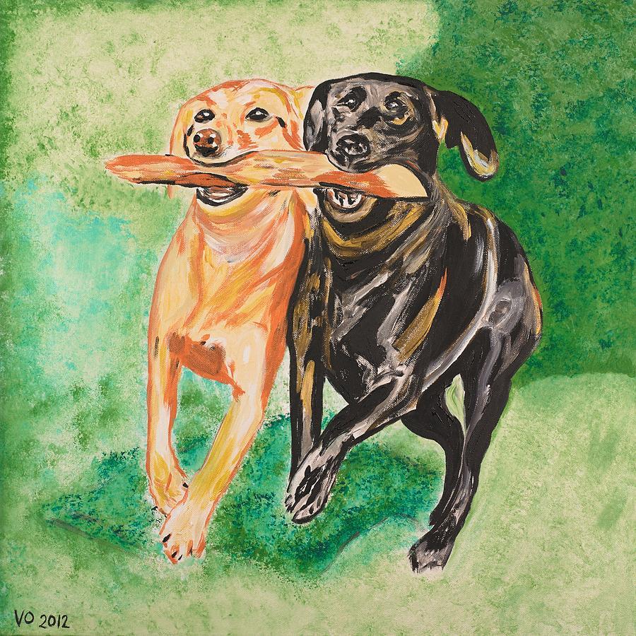 Dog Painting - Friendship by Valerie Ornstein