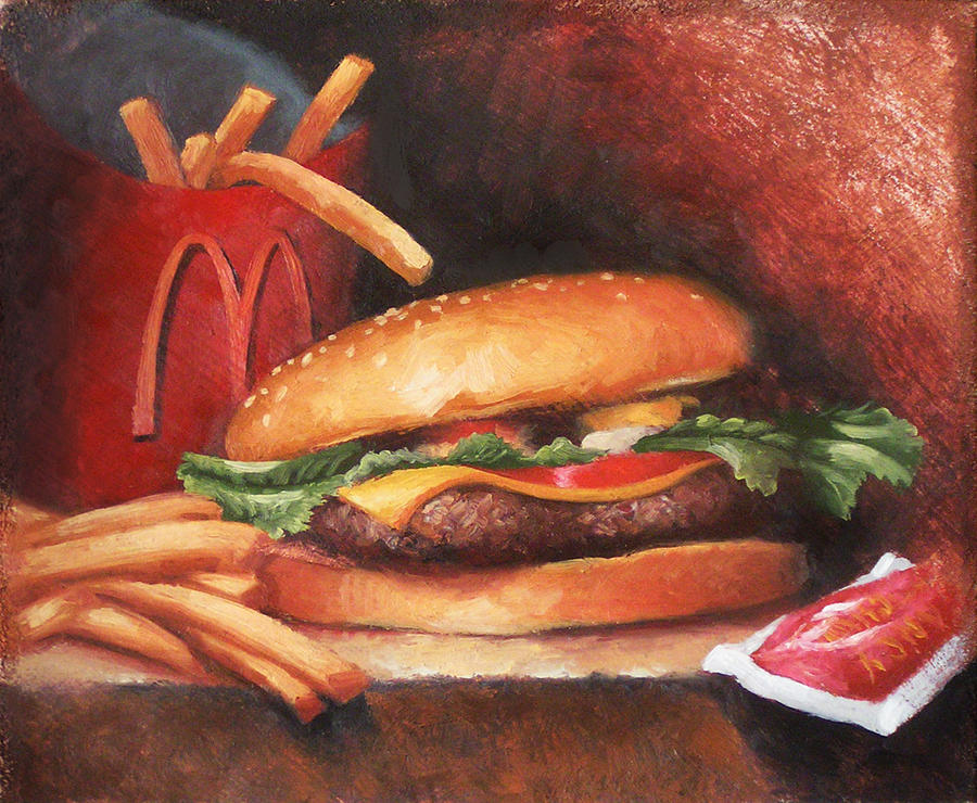 Burger Painting - Fries With That by Timothy Jones