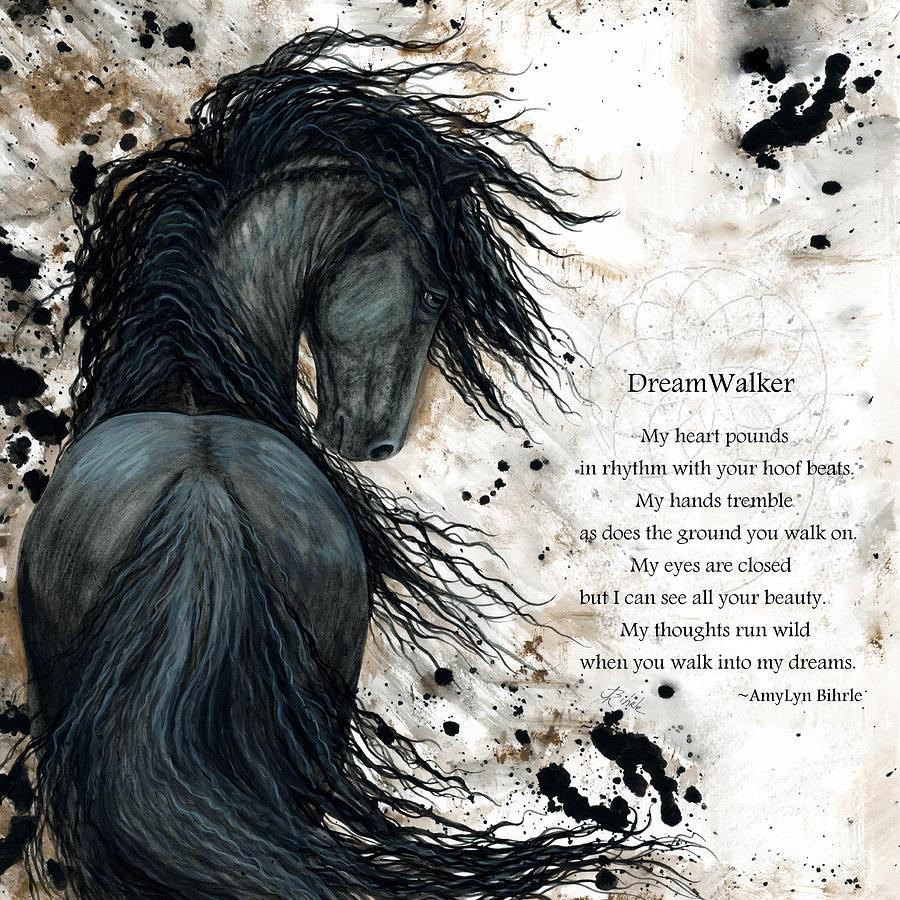 Horse Painting - Friesian Dreamwalker Horse by AmyLyn Bihrle