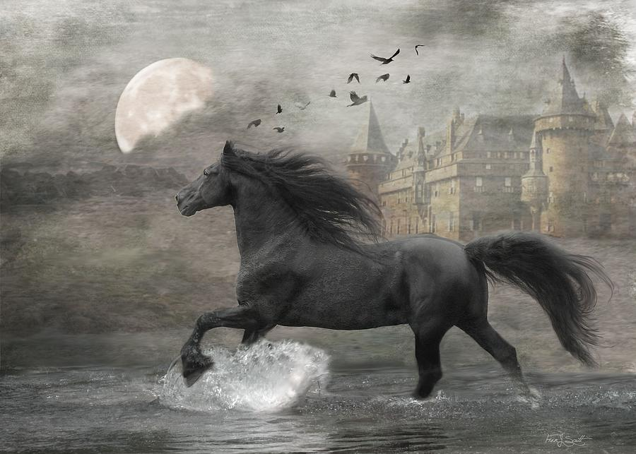 Black Horse Digital Art - Friesian Fantasy  by Fran J Scott