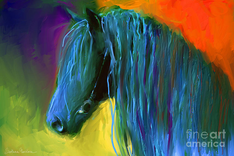 Friesian Horse Prints Painting - Friesian Horse Painting 2 by Svetlana Novikova