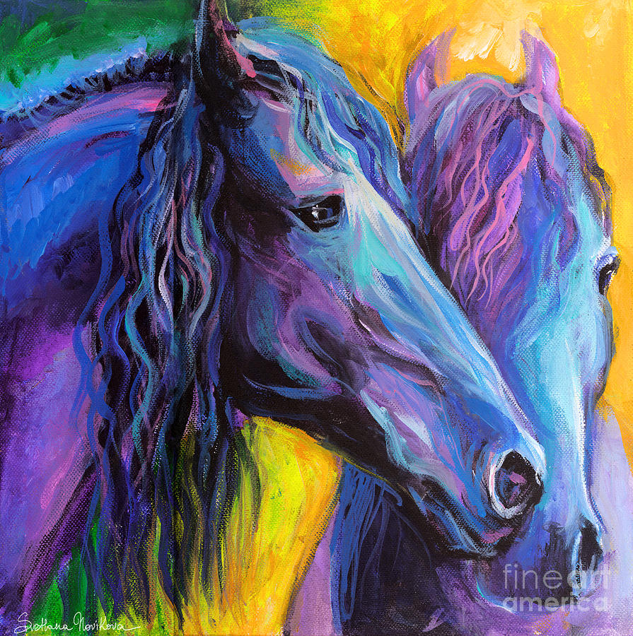Friesian horses painting painting by svetlana novikova for Abstract posters for sale