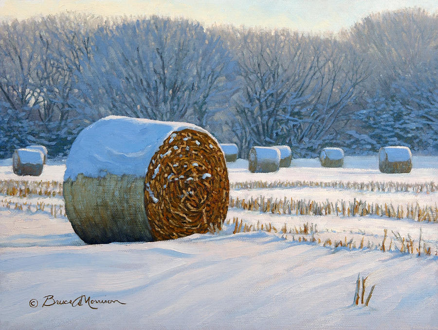 Landscape Painting Painting - Frigid Morning Bales by Bruce Morrison