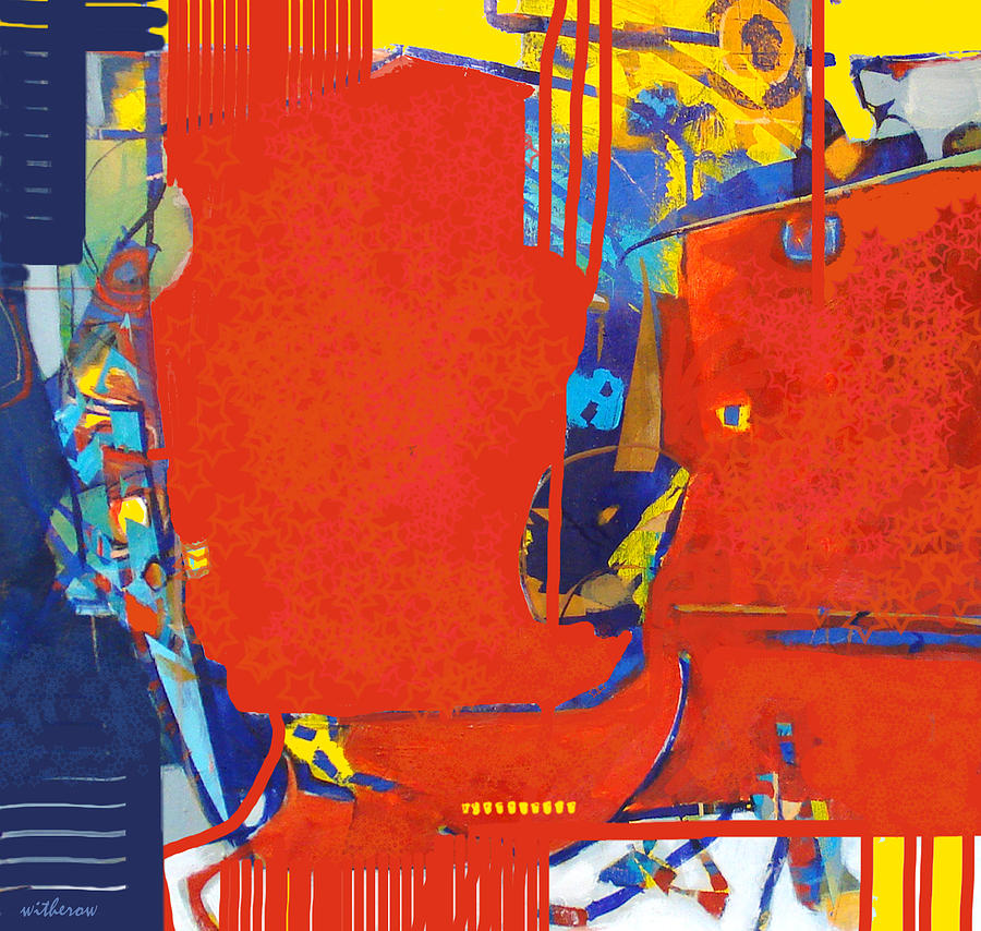 Abstract Digital Art - Fringe And Red Tape by Dale  Witherow