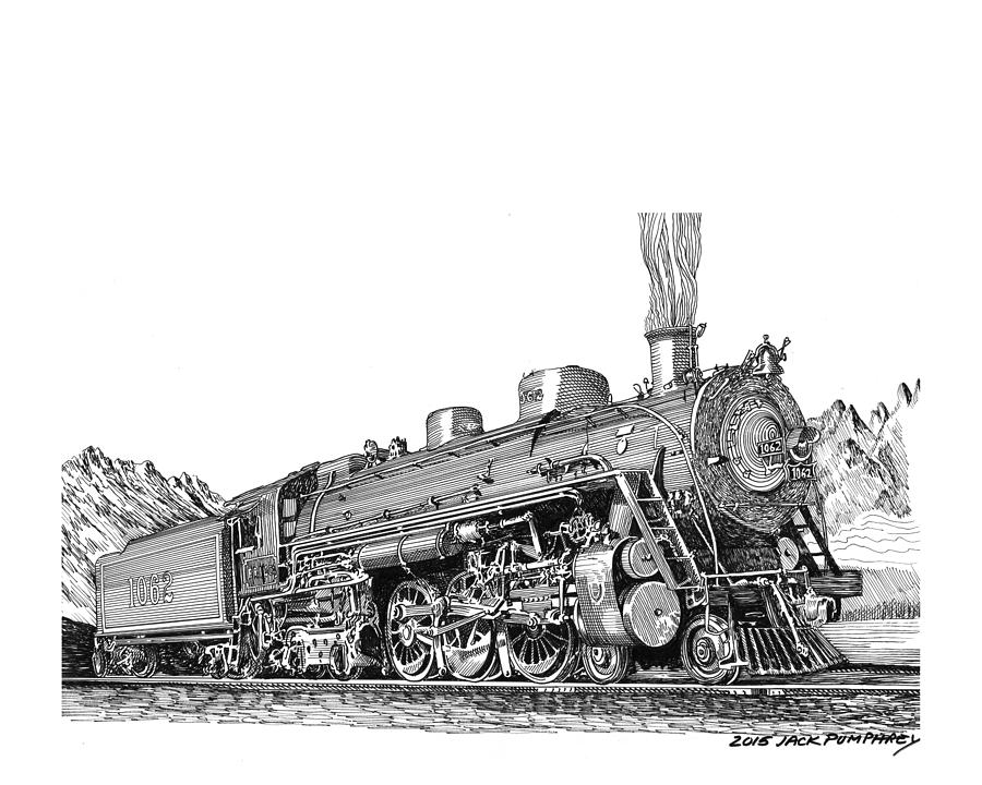 Steam Driven Locomotive Drawing by Jack Pumphrey
