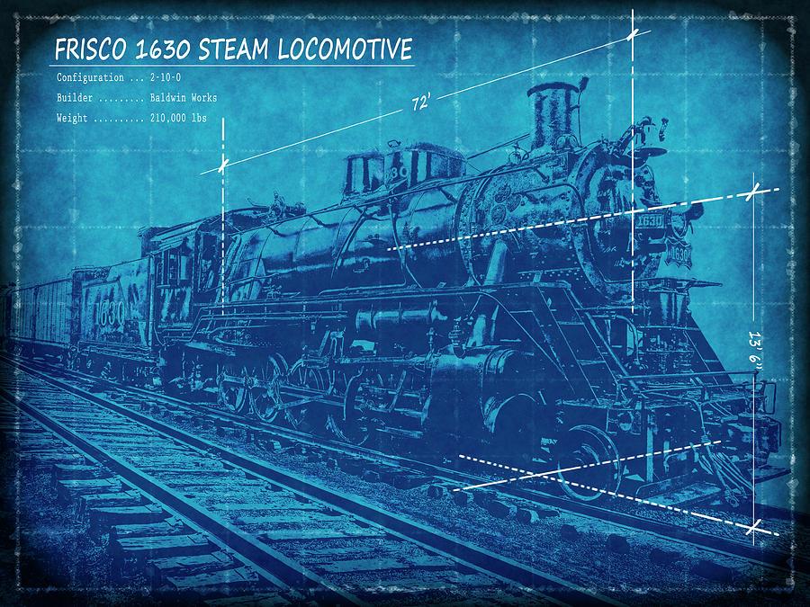 Frisco locomotive 1630 blueprint 2 digital art by daniel hagerman blueprint digital art frisco locomotive 1630 blueprint 2 by daniel hagerman malvernweather Gallery