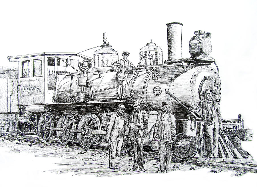 Frisco Locomotive 1920 Drawing by Ron Enderland