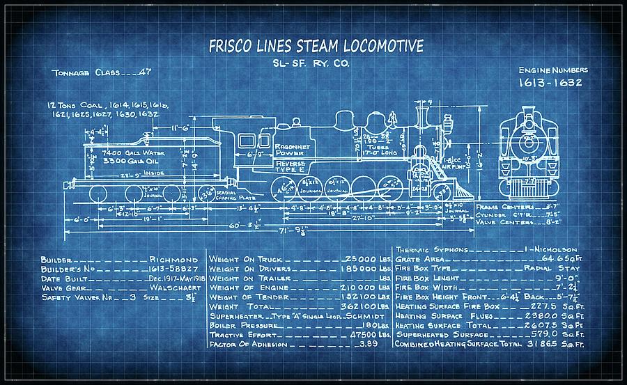 Frisco steam locomotive blueprint digital art by daniel hagerman frisco digital art frisco steam locomotive blueprint by daniel hagerman malvernweather Gallery