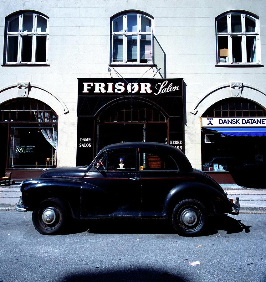 Black Car Photograph - Frisor And Black Car  Copenhagen Denmark by Derek Moore